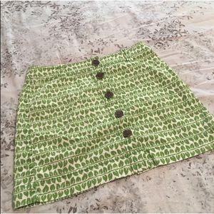 J.Crew Leaf Print Button Front Skirt